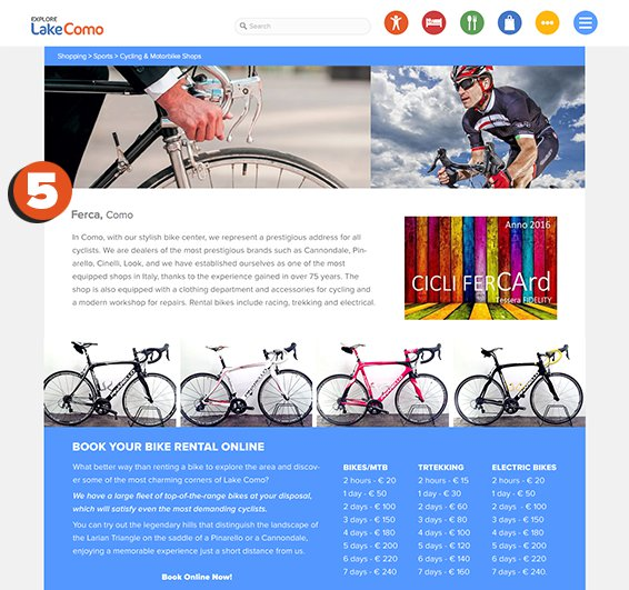 Screen shot of explorelakecomo.com detail page showing Advertising Package Features No. 2
