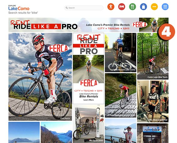 Screen shot of explorelakecomo.com - showing Advertising Package Features No. 2